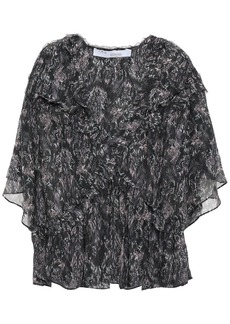 Iro Woman Date Ruffled Printed Georgette Blouse Charcoal