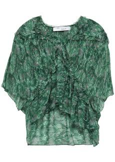 Iro Woman Date Ruffled Printed Georgette Blouse Green