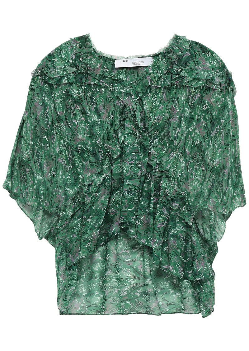 Iro Woman Date Ruffled Printed Crepe De Chine Blouse Green