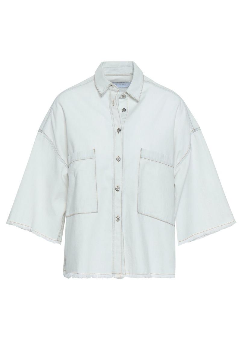 Iro Woman Nikow Frayed Denim Shirt Sky Blue