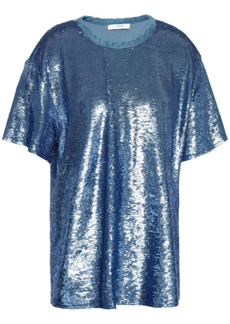 Iro Woman Sequined Woven Top Light Blue