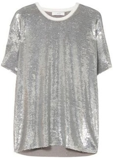 Iro Woman Denim-trimmed Sequined French Terry T-shirt Silver