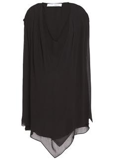 Iro Woman Desvio Asymmetric Layered Georgette Mini Dress Black