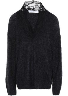 Iro Woman Diamon Lace-trimmed Brushed Knitted Sweater Black