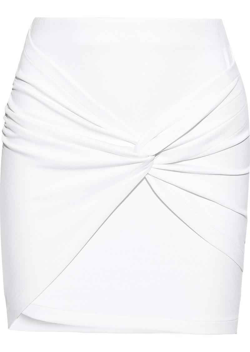 Iro Woman Diamonds Twist-front Stretch-jersey Mini Skirt White