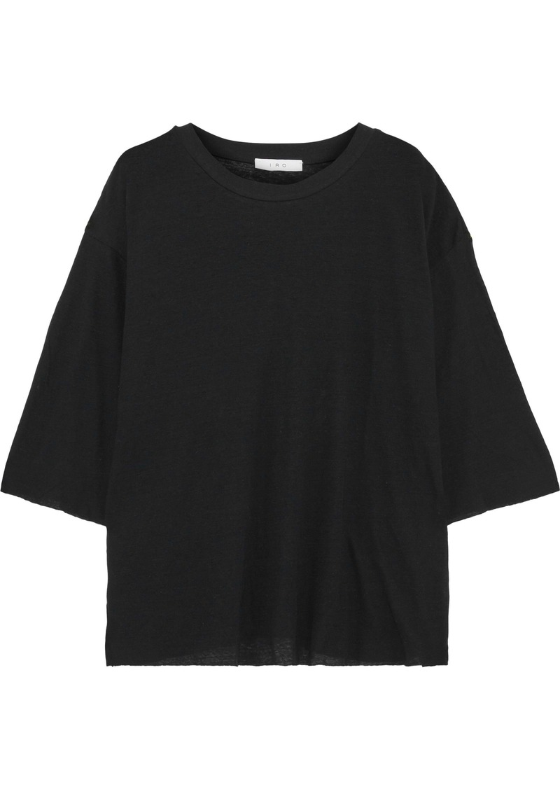 Iro Woman Diro Slub Cotton And Linen-blend Jersey Top Black