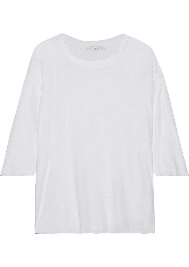 Iro Woman Diro Slub Cotton And Linen-blend Jersey Top White