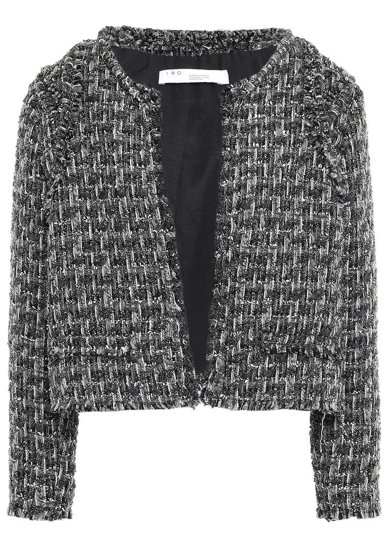 Iro Woman Disco Frayed Metallic Bouclé-tweed Jacket Anthracite