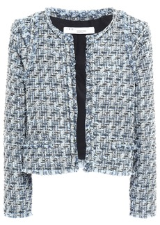 Iro Woman Disco Frayed Metallic Bouclé-tweed Jacket Blue