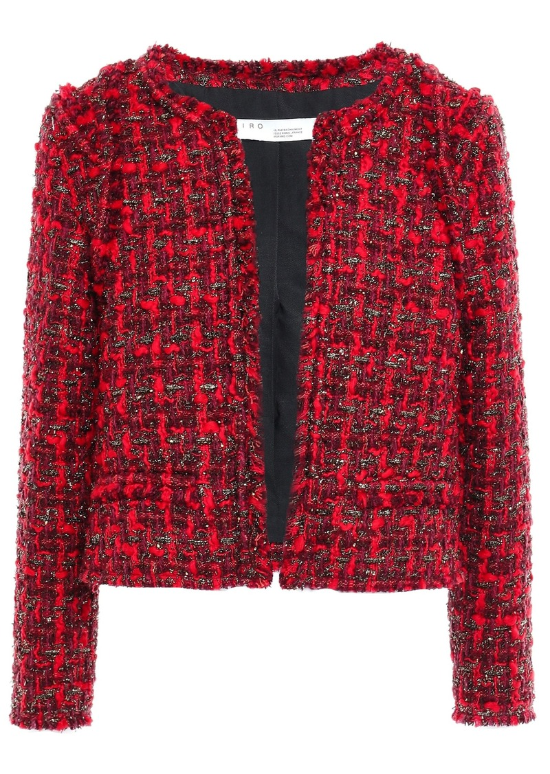 Iro Woman Disco Frayed Metallic Bouclé-tweed Jacket Red