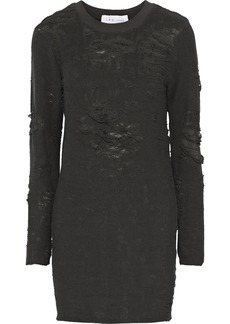 Iro Woman Cevoc Distressed French Cotton-blend Terry Mini Dress Anthracite
