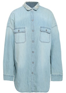 Iro Woman Distressed Denim Shirt Light Denim