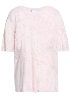 Iro Woman Distressed French Cotton-blend Terry Top Baby Pink
