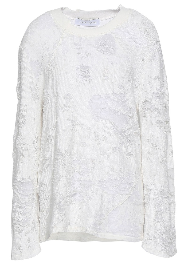 Iro Woman Distressed French Cotton-blend Terry Top White