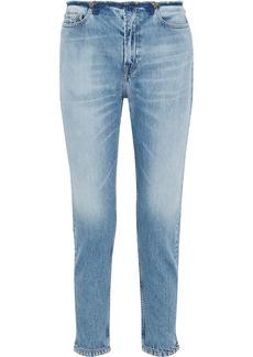 Iro Woman Distressed High-rise Tapered Jeans Light Denim