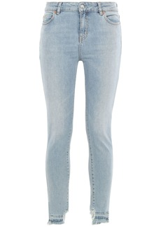 Iro Woman Distressed Mid-rise Skinny Jeans Light Denim