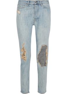 Iro Woman Distressed Mid-rise Slim-leg Jeans Mid Denim