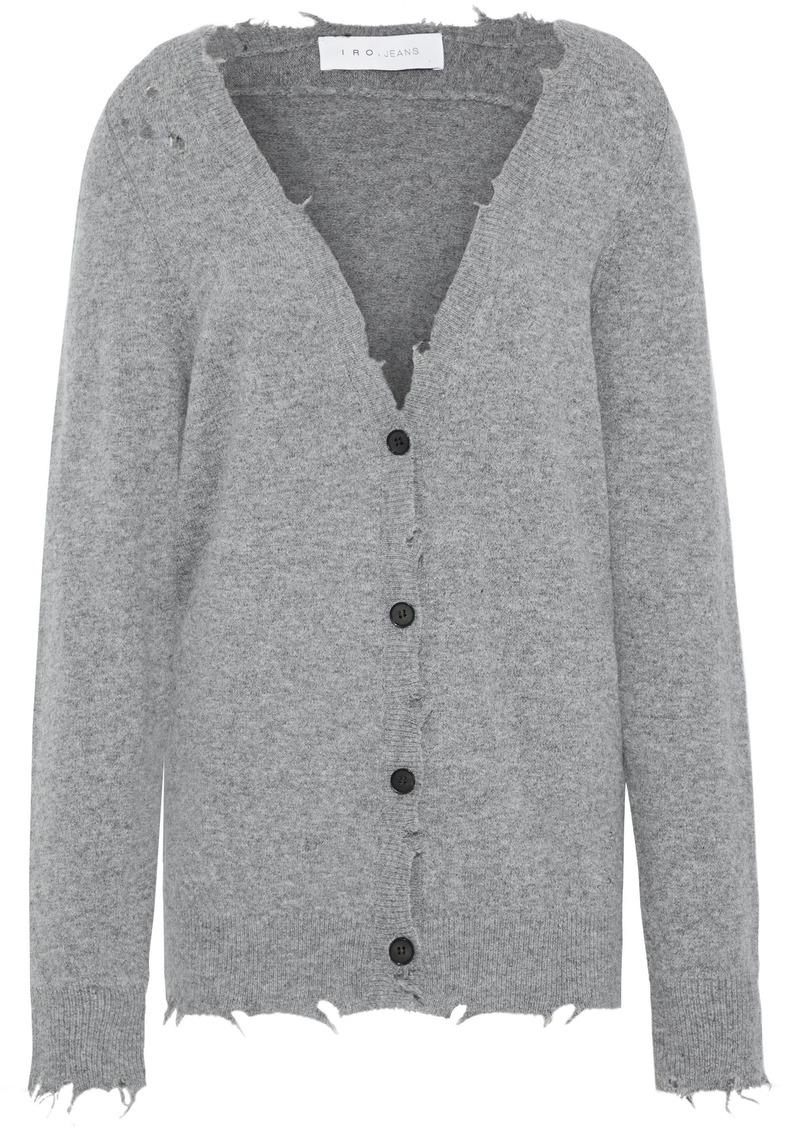 Iro Woman Distressed Mélange Knitted Cardigan Gray