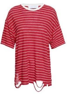 Iro Woman Distressed Striped Slub Linen-jersey T-shirt Tomato Red