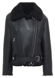 Iro Woman Dries Shearling Biker Jacket Black