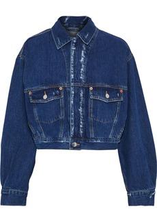 Iro Woman Duere Cropped Distressed Denim Jacket Mid Denim