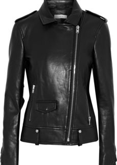 Iro Woman Dumont Ruffle-trimmed Leather Biker Jacket Black