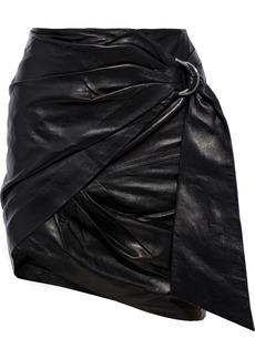 Iro Woman Dybal Wrap-effect Belted Leather Mini Skirt Black