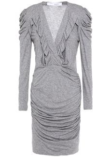 Iro Woman Ebba Ruffle-trimmed Ruched Stretch-jersey Mini Dress Gray