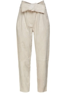 Iro Woman Ebiel Belted Suede Tapered Pants Light Gray