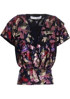 Iro Woman Eksie Wrap-effect Sequined Chiffon Top Pink