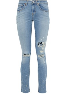 Iro Woman Elerie Distressed Low-rise Skinny Jeans Mid Denim