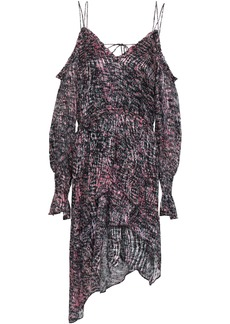 Iro Woman Eloma Cold-shoulder Asymmetric Printed Devoré-chiffon Mini Dress Plum