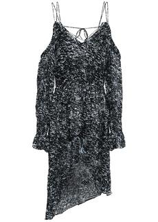 Iro Woman Eloma Cold-shoulder Asymmetric Printed Devoré-chiffon Mini Dress Anthracite