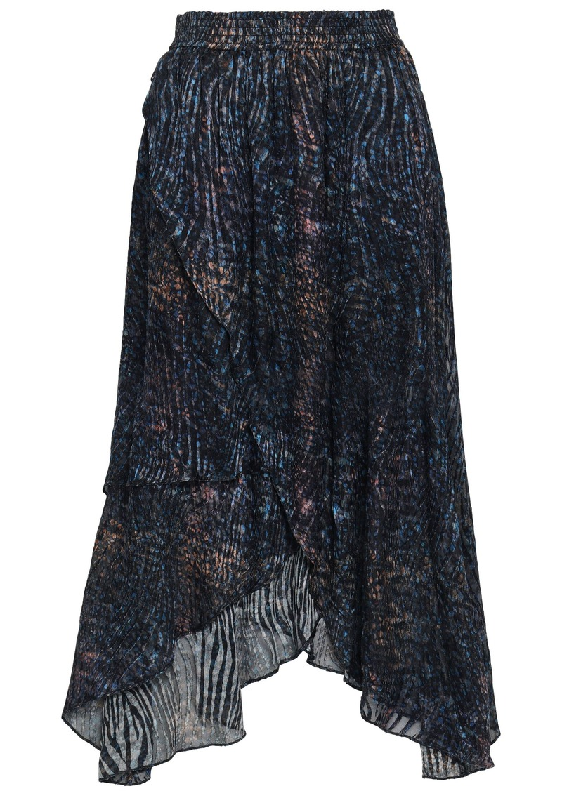 Iro Woman Elook Wrap-effect Devoré-chiffon Midi Skirt Navy