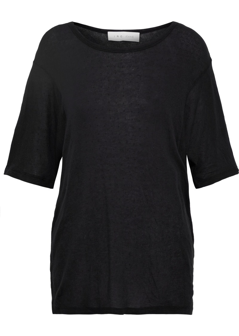 Iro Woman Embellished Slub Tencel-blend Jersey Top Black