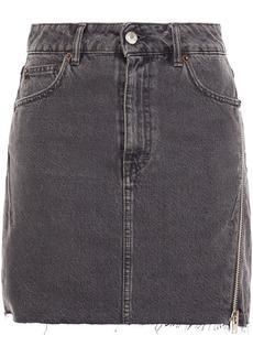 Iro Woman Emiel Zip-detailed Denim Mini Skirt Charcoal