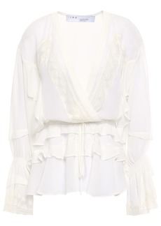 Iro Woman Endless Lace-trimmed Ruffled Silk-georgette Peplum Blouse Off-white