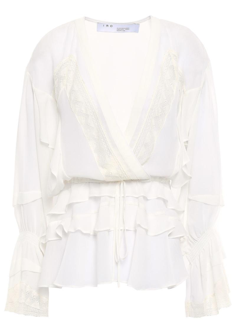 Iro Woman Crochet-trimmed Ruffled Silk-chiffon Blouse Off-white