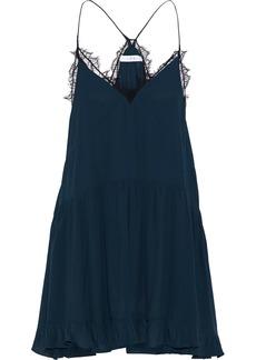 Iro Woman Enes Lace-trimmed Crepe De Chine Mini Slip Dress Storm Blue