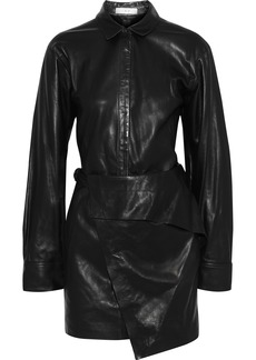 Iro Woman Enmalo Wrap-effect Layered Leather Mini Dress Black