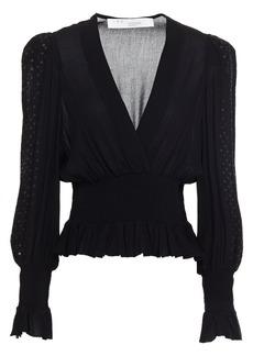 Iro Woman Ensuie Shirred Sequin-embellished Crepe Blouse Black