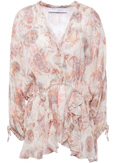 Iro Woman Ruffled Printed Gauze Blouse Ecru