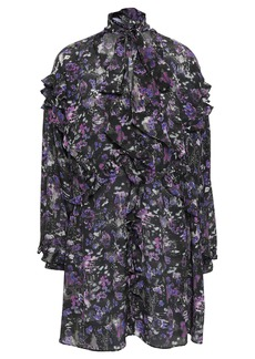 Iro Woman Equate Pussy-bow Printed Silk Crepe De Chine Mini Dress Purple