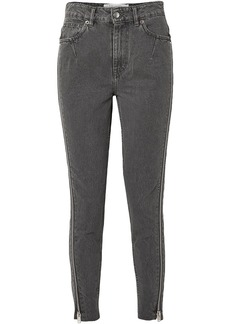 Iro Woman Essey Zip-embellished Frayed High-rise Skinny Jeans Dark Gray