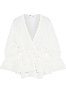 Iro Woman Eternal Lace-trimmed Ruffled Silk Crepe De Chine Blouse Off-white