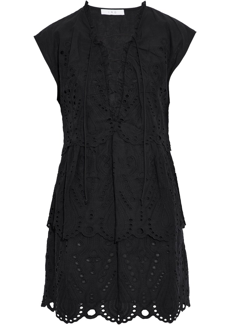 Iro Woman Evene Lace-up Broderie Anglaise Cotton Mini Dress Black