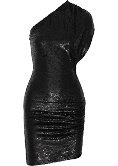 Iro Woman Exciter One-shoulder Sequined Stretch-jersey Mini Dress Black