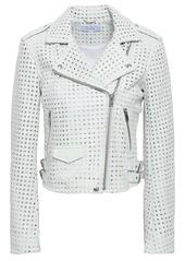 Iro Woman Eyelet-embellished Leather Biker Jacket White