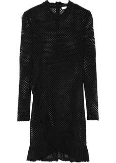 Iro Woman Fabyh Ruffle-trimmed Open-knit Cotton-blend Mini Dress Black