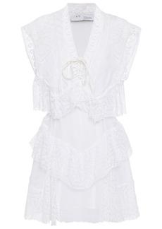 Iro Woman Fairy Tiered Cotton Guipure Lace Mini Dress White